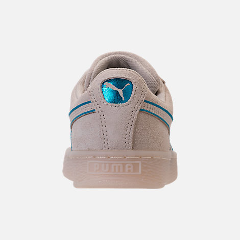 Back view of Boys' Grade School Puma Suede Foil FS Casual Shoes in Natural/Blue
