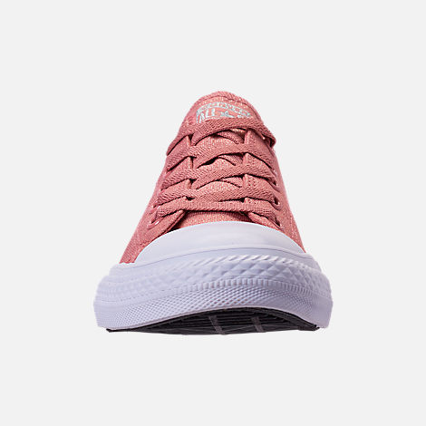 Front view of Girls' Big Kids' Converse Chuck Taylor Ox Casual Shoes in Rust Pink/White
