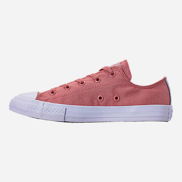 Left view of Girls' Big Kids' Converse Chuck Taylor Ox Casual Shoes in Rust Pink/White