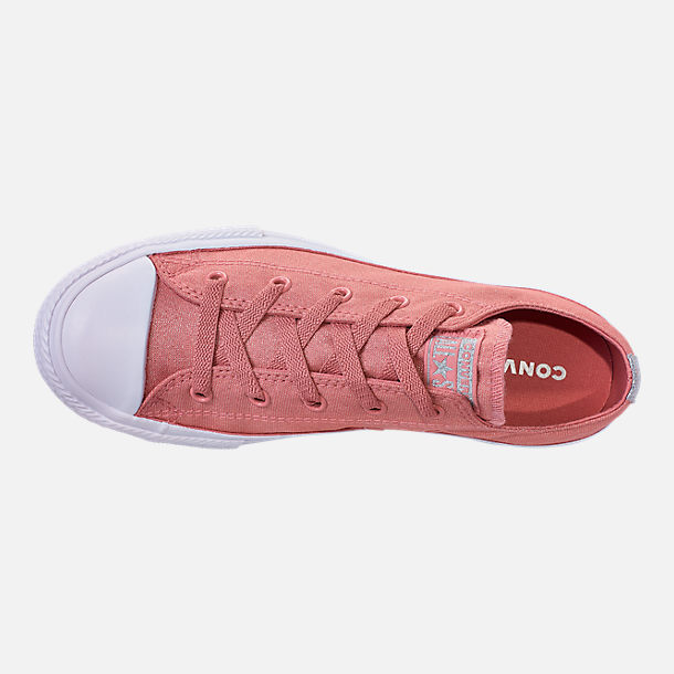 Top view of Girls' Big Kids' Converse Chuck Taylor Ox Casual Shoes in Rust Pink/White