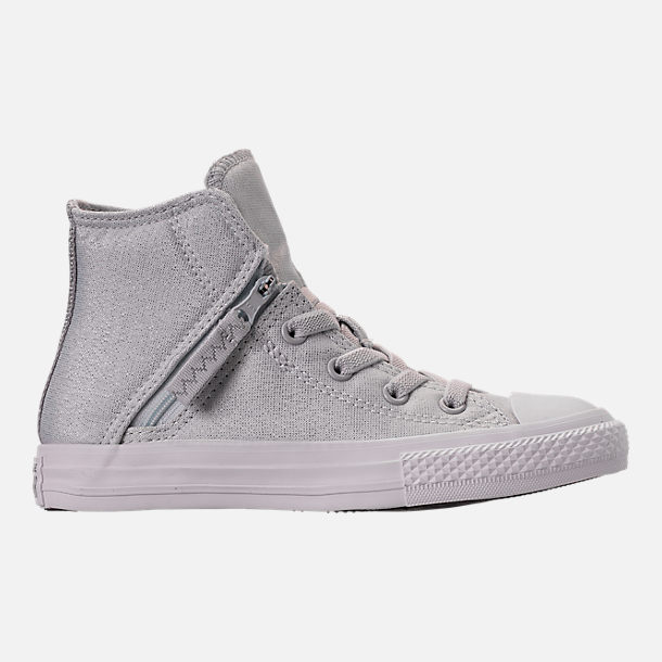 Right view of Girls' Preschool Converse Chuck Taylor All Star Pull Zip High Top Casual Shoes in Grey