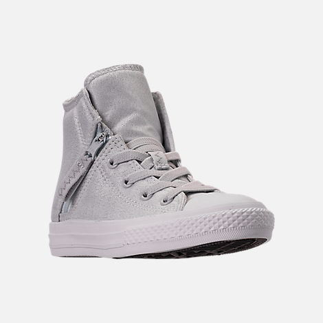 Three Quarter view of Girls' Preschool Converse Chuck Taylor All Star Pull Zip High Top Casual Shoes in Grey