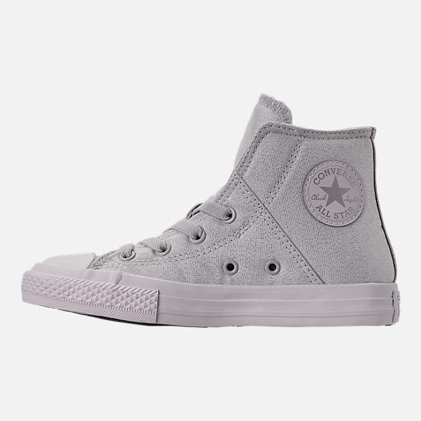 Left view of Girls' Preschool Converse Chuck Taylor All Star Pull Zip High Top Casual Shoes in Grey