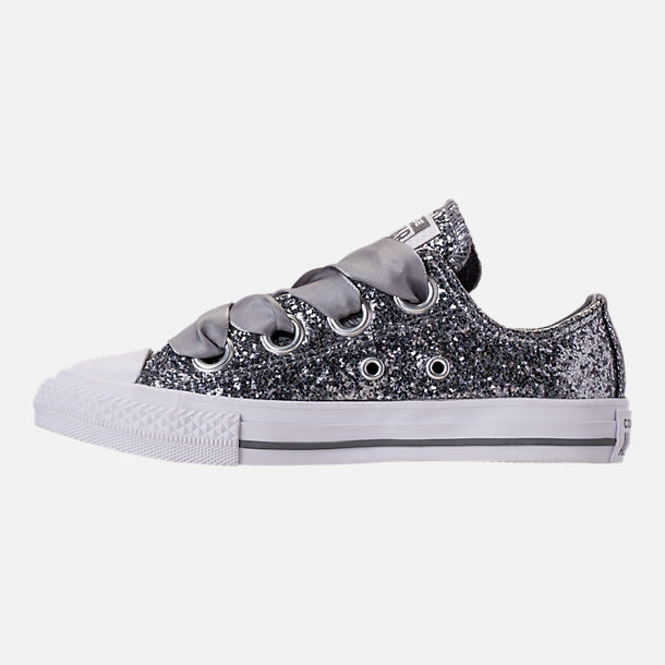 Left view of Girls' Little Kids' Converse Chuck Taylor All Star Sparkle Big Eyelets Satin Casual Shoes in Mason/White/White