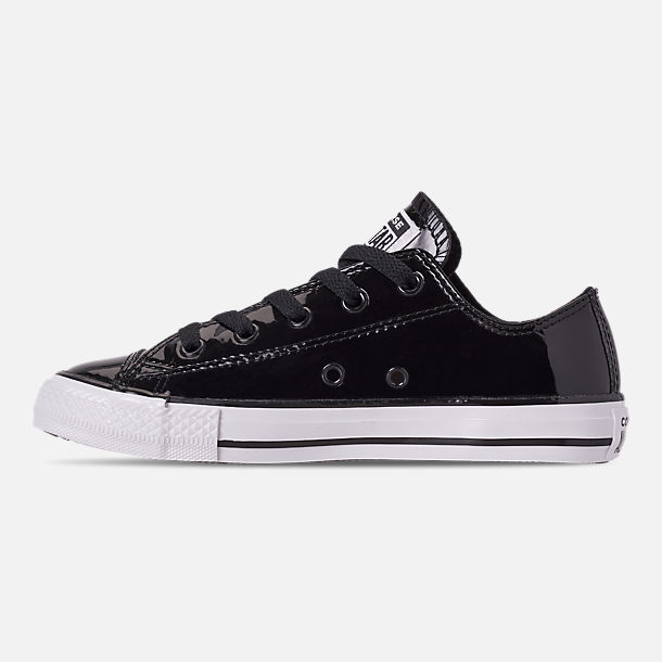 Left view of Girls' Preschool Converse Chuck Taylor All Star Leather Ox Casual Shoes in Black/White