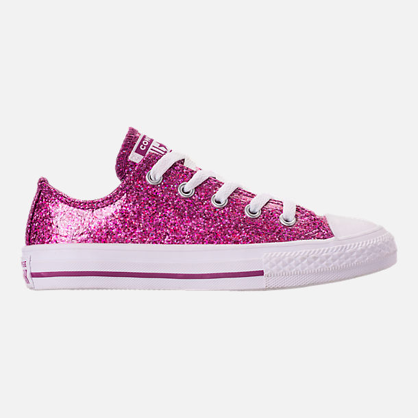 Right view of Girls' Little Kids' Converse Chuck Taylor Party Dress Low Casual Shoes in Icon Violet/White/White