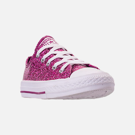 Three Quarter view of Girls' Little Kids' Converse Chuck Taylor Party Dress Low Casual Shoes in Icon Violet/White/White