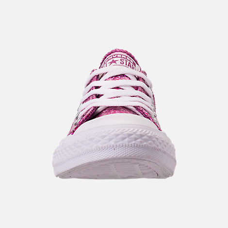 Front view of Girls' Little Kids' Converse Chuck Taylor Party Dress Low Casual Shoes in Icon Violet/White/White