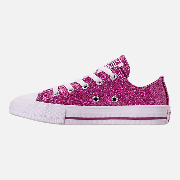 Left view of Girls' Little Kids' Converse Chuck Taylor Party Dress Low Casual Shoes in Icon Violet/White/White