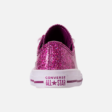 Back view of Girls' Little Kids' Converse Chuck Taylor Party Dress Low Casual Shoes in Icon Violet/White/White