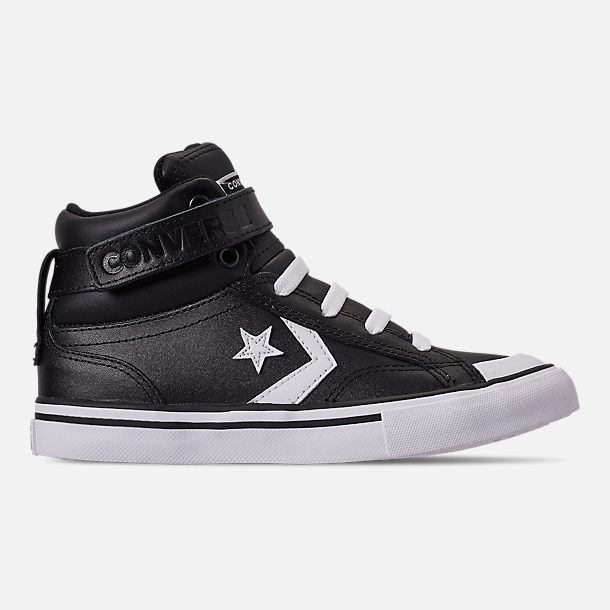 Right view of Boys' Little Kids' Converse Pro Blaze Strap Hi Casual Shoes in Black/White/White