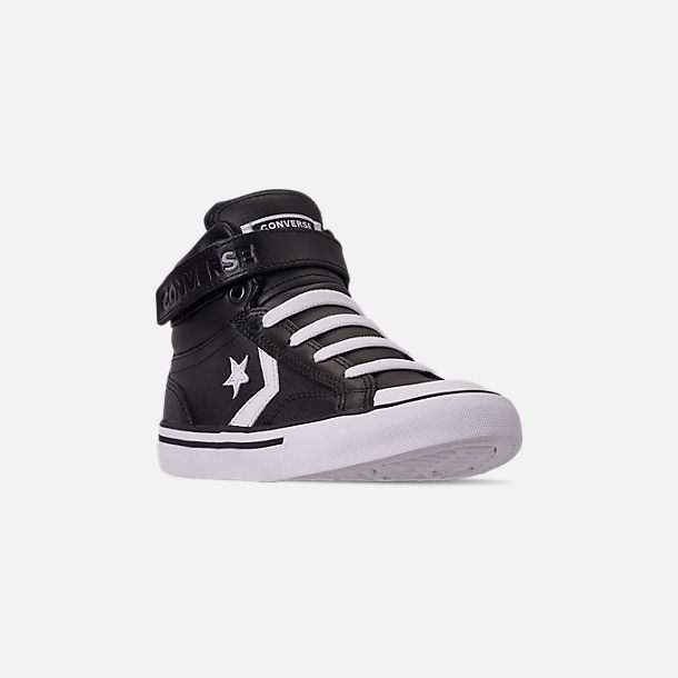 Three Quarter view of Boys' Little Kids' Converse Pro Blaze Strap Hi Casual Shoes in Black/White/White