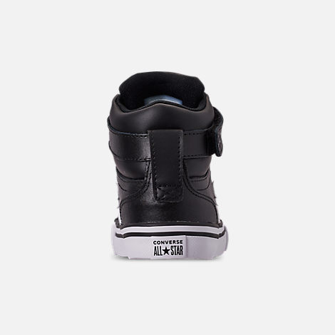 Back view of Boys' Little Kids' Converse Pro Blaze Strap Hi Casual Shoes in Black/White/White