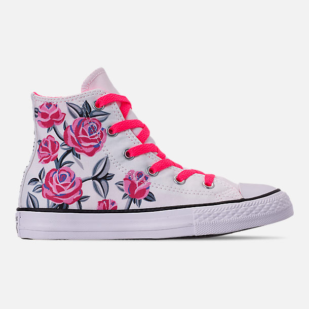 Right view of Girls' Little Kids' Converse Chuck Taylor All Star Hello Kitty High Top Casual Shoes in White/Racer/Pink/Black