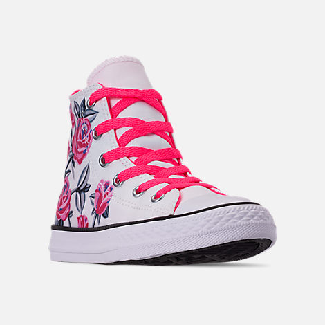 Three Quarter view of Girls' Little Kids' Converse Chuck Taylor All Star Hello Kitty High Top Casual Shoes in White/Racer/Pink/Black
