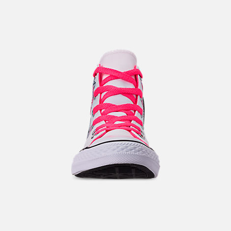 Front view of Girls' Little Kids' Converse Chuck Taylor All Star Hello Kitty High Top Casual Shoes in White/Racer/Pink/Black