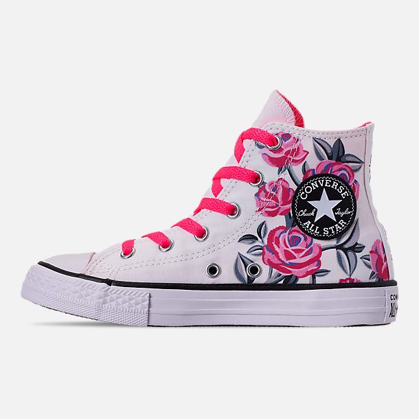 Left view of Girls' Little Kids' Converse Chuck Taylor All Star Hello Kitty High Top Casual Shoes in White/Racer/Pink/Black