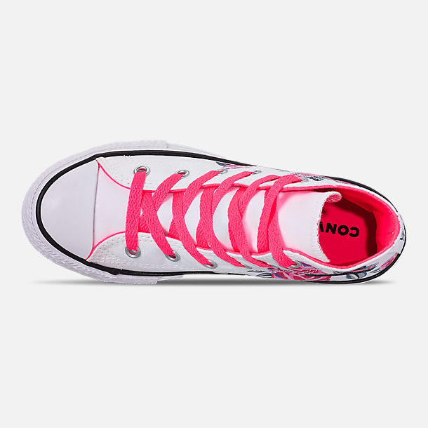 Top view of Girls' Little Kids' Converse Chuck Taylor All Star Hello Kitty High Top Casual Shoes in White/Racer/Pink/Black