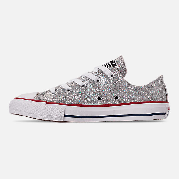 Left view of Girls' Little Kids' Converse Chuck Taylor All Star Hello Kitty Ox Casual Shoes in Mouse/Enamel Red/White