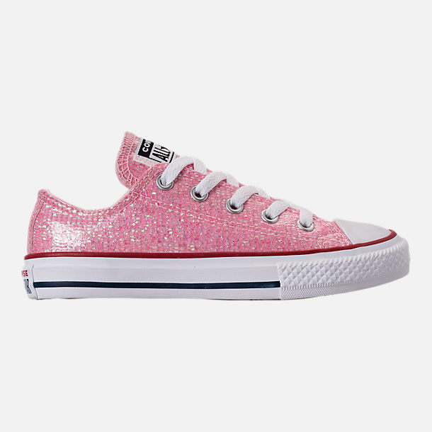 Right view of Girls' Little Kids' Converse Chuck Taylor Ox Casual Shoes in Pink Foam/Enamel Red/White