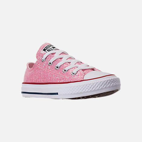 Three Quarter view of Girls' Little Kids' Converse Chuck Taylor Ox Casual Shoes in Pink Foam/Enamel Red/White