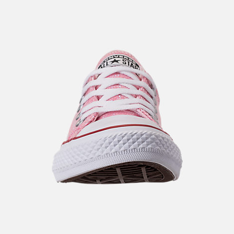 Front view of Girls' Little Kids' Converse Chuck Taylor Ox Casual Shoes in Pink Foam/Enamel Red/White