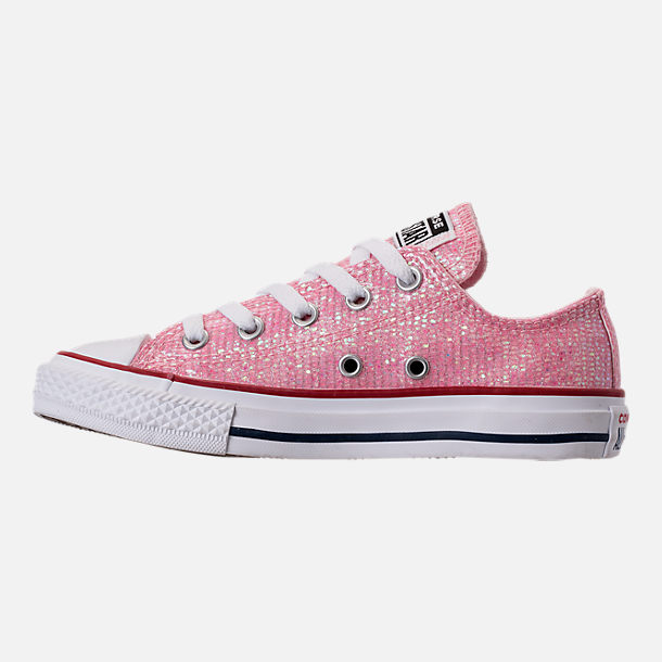 Left view of Girls' Little Kids' Converse Chuck Taylor Ox Casual Shoes in Pink Foam/Enamel Red/White