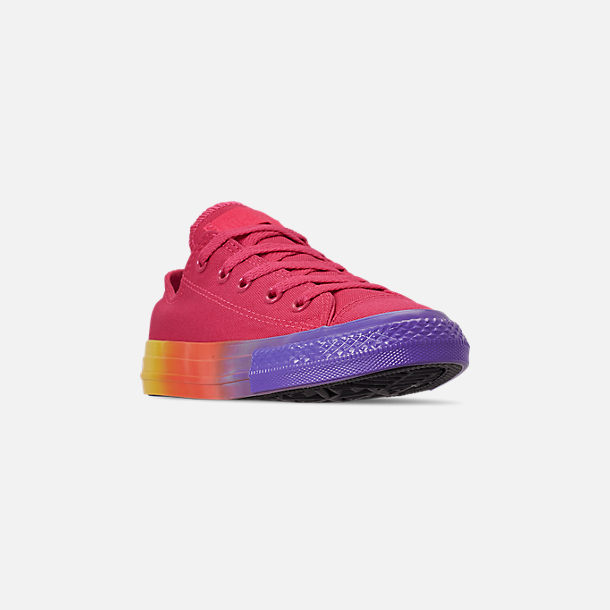 Three Quarter view of Girls' Little Kids' Converse Chuck Low Top Casual Shoes in Strawberry Jam/Wild Lilac/Black