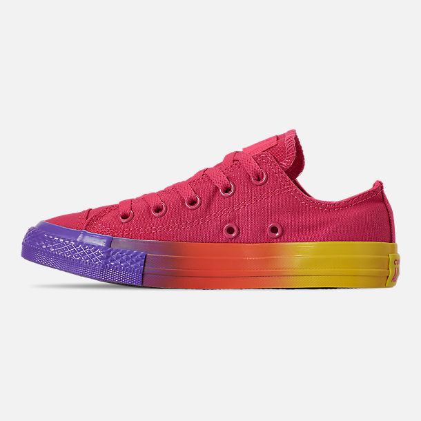 Left view of Girls' Little Kids' Converse Chuck Low Top Casual Shoes in Strawberry Jam/Wild Lilac/Black