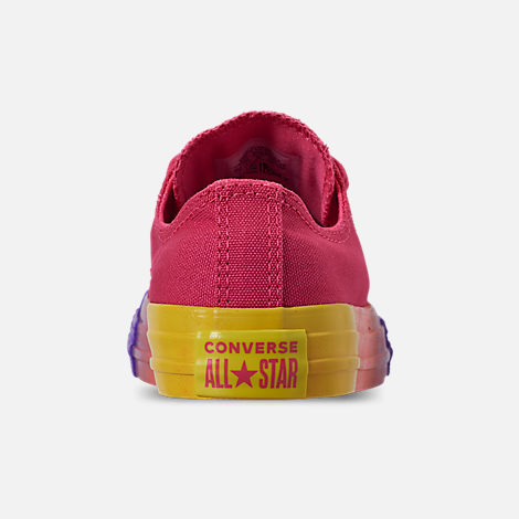 Back view of Girls' Little Kids' Converse Chuck Low Top Casual Shoes in Strawberry Jam/Wild Lilac/Black
