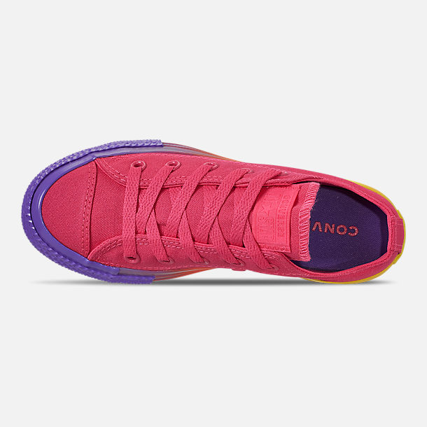 Top view of Girls' Little Kids' Converse Chuck Low Top Casual Shoes in Strawberry Jam/Wild Lilac/Black