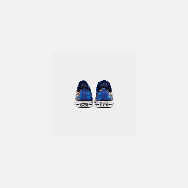 Front view of Boys' Little Kids' Converse Chuck Taylor Low Top Casual Shoes in Blue/Black/White