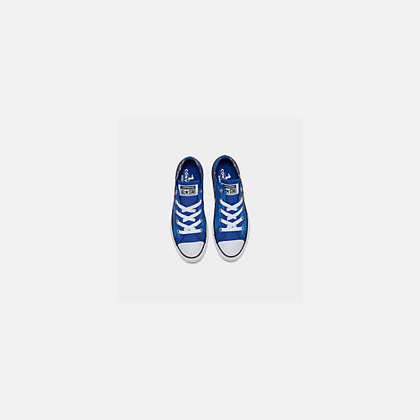 Back view of Boys' Little Kids' Converse Chuck Taylor Low Top Casual Shoes in Blue/Black/White