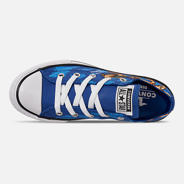 Top view of Boys' Little Kids' Converse Chuck Taylor Low Top Casual Shoes in Blue/Black/White