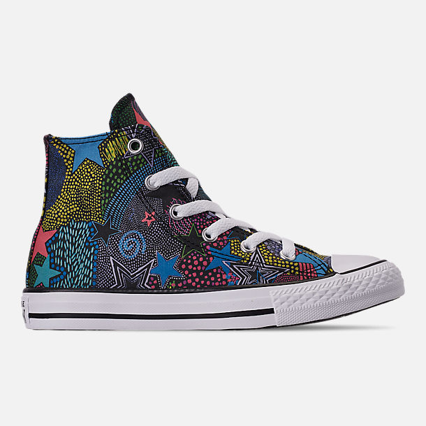Right view of Girls' Little Kids' Converse Chuck Taylor High Top Glitter Casual Shoes in Black/Gnarly Blue/White