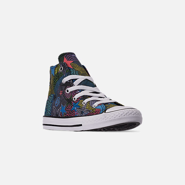 Three Quarter view of Girls' Little Kids' Converse Chuck Taylor High Top Glitter Casual Shoes in Black/Gnarly Blue/White