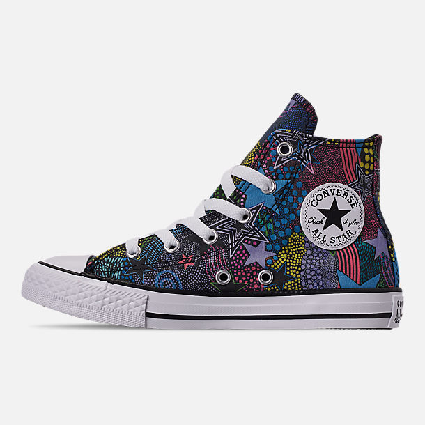 Left view of Girls' Little Kids' Converse Chuck Taylor High Top Glitter Casual Shoes in Black/Gnarly Blue/White
