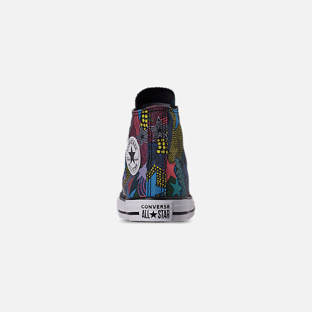 Back view of Girls' Little Kids' Converse Chuck Taylor High Top Glitter Casual Shoes in Black/Gnarly Blue/White