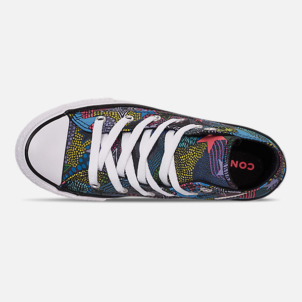 Top view of Girls' Little Kids' Converse Chuck Taylor High Top Glitter Casual Shoes in Black/Gnarly Blue/White