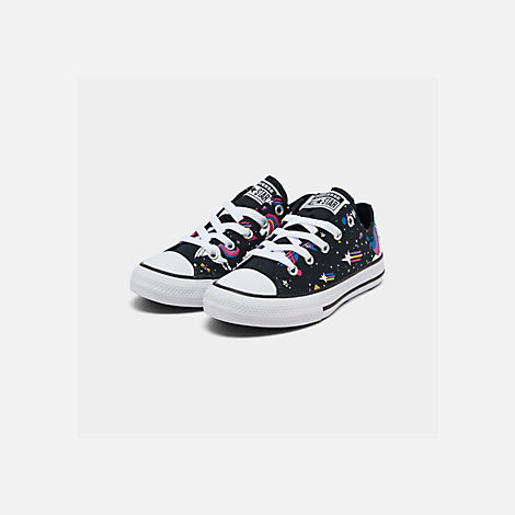 Three Quarter view of Girls' Little Kids' Converse Chuck Taylor Unicorns Low Top Casual Shoes in Black/Mod Pink/White