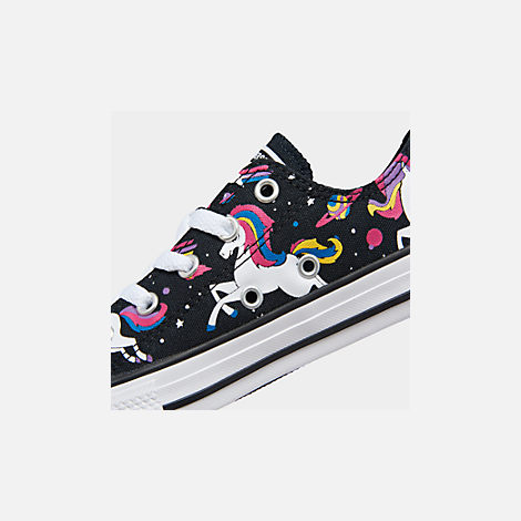 Front view of Girls' Little Kids' Converse Chuck Taylor Unicorns Low Top Casual Shoes in Black/Mod Pink/White