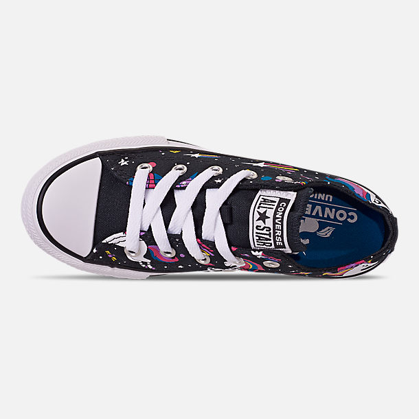 Top view of Girls' Little Kids' Converse Chuck Taylor Unicorns Low Top Casual Shoes in Black/Mod Pink/White