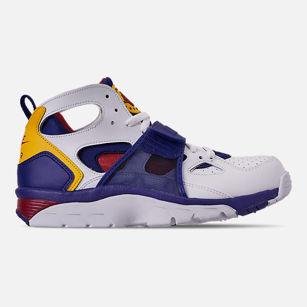 Right view of Men's Nike Air Trainer Huarache Training Shoes in White/Regency Purple/Amarillo/Crimson