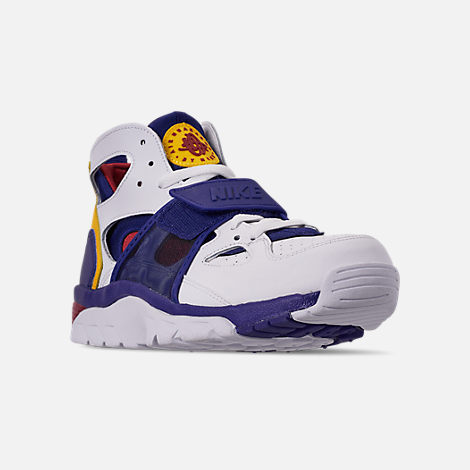 Three Quarter view of Men's Nike Air Trainer Huarache Training Shoes in White/Regency Purple/Amarillo/Crimson