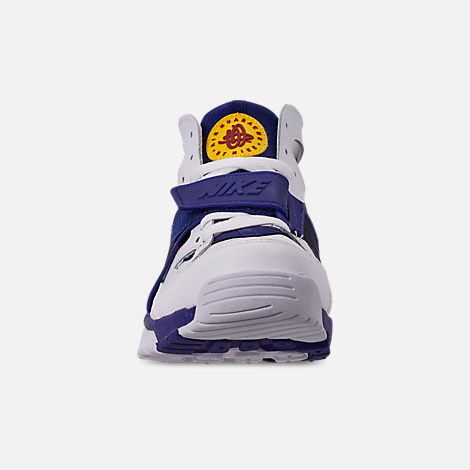 Front view of Men's Nike Air Trainer Huarache Training Shoes in White/Regency Purple/Amarillo/Crimson
