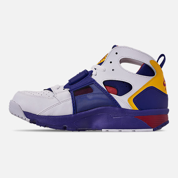 Left view of Men's Nike Air Trainer Huarache Training Shoes in White/Regency Purple/Amarillo/Crimson