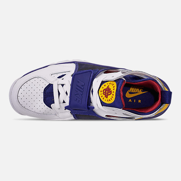 Top view of Men's Nike Air Trainer Huarache Training Shoes in White/Regency Purple/Amarillo/Crimson