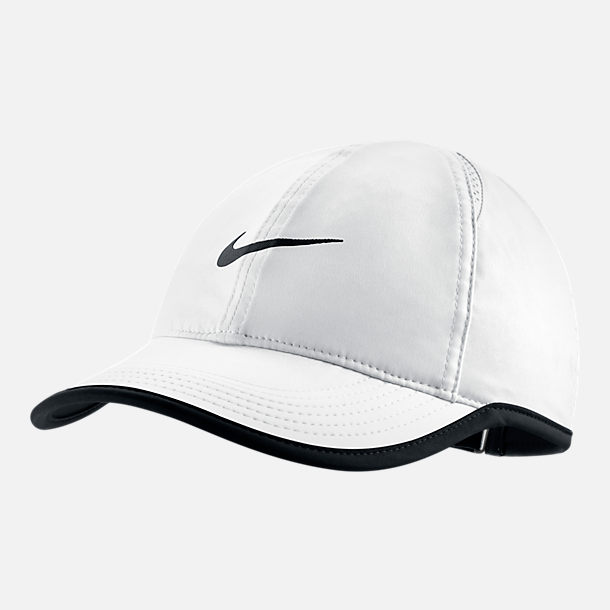 Front view of Women's Nike Court AeroBill Featherlight Adjustable Tennis Hat in White