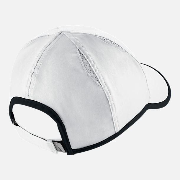 Back view of Women's Nike Court AeroBill Featherlight Adjustable Tennis Hat in White