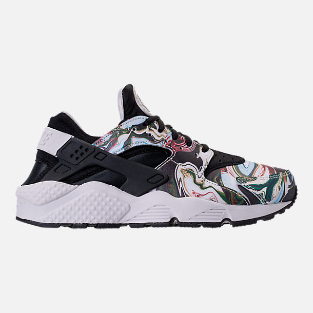 Right view of Women's Nike Air Huarache Run Premium Running Shoes in Black/Black/Vast Grey